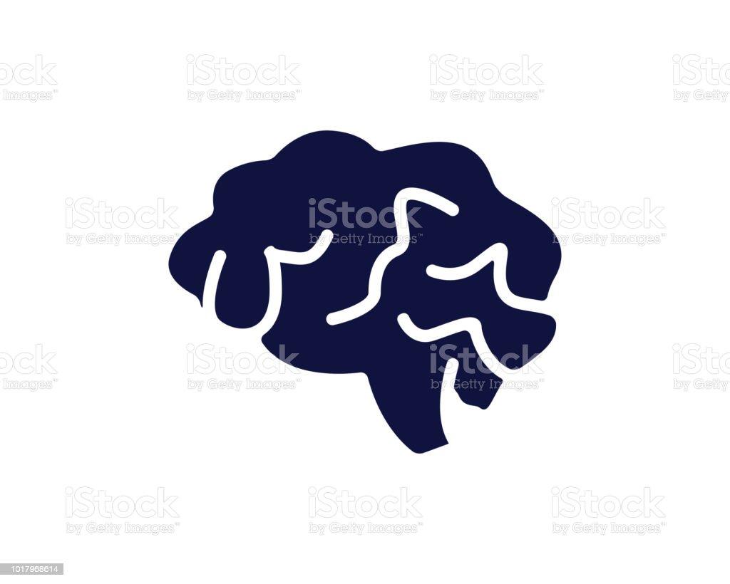 brain icon design round illustration,glyph style design - illustrazione arte vettoriale