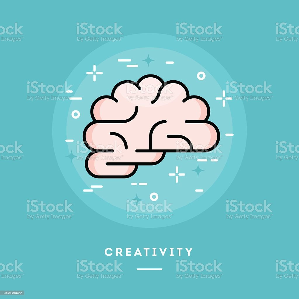 Brain icon, flat design line style banner vector art illustration