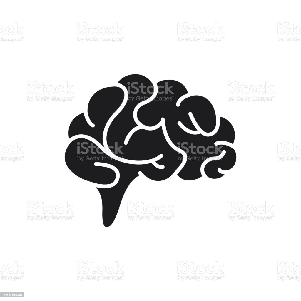 Brain icon flat vector art illustration