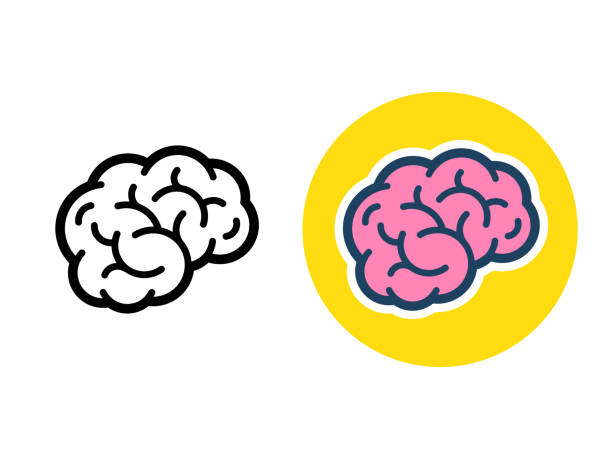 Brain icon illustration Stylized brain icon or logo, black line and color. Simple flat cartoon style human brain vector illustration. brain stock illustrations