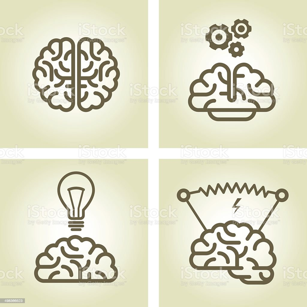 Brain icon - invention and inspiration symbols vector art illustration