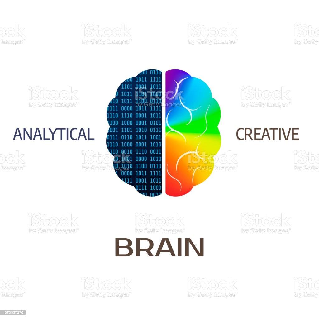 Gehirnsymbol Linke Gehirnhälfte Teil Analytische Rechte Hemisphäre ...