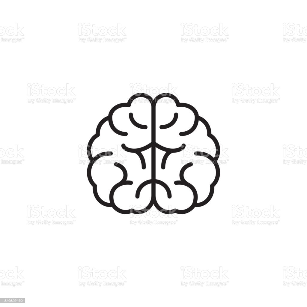 brain icon on white background vector art illustration