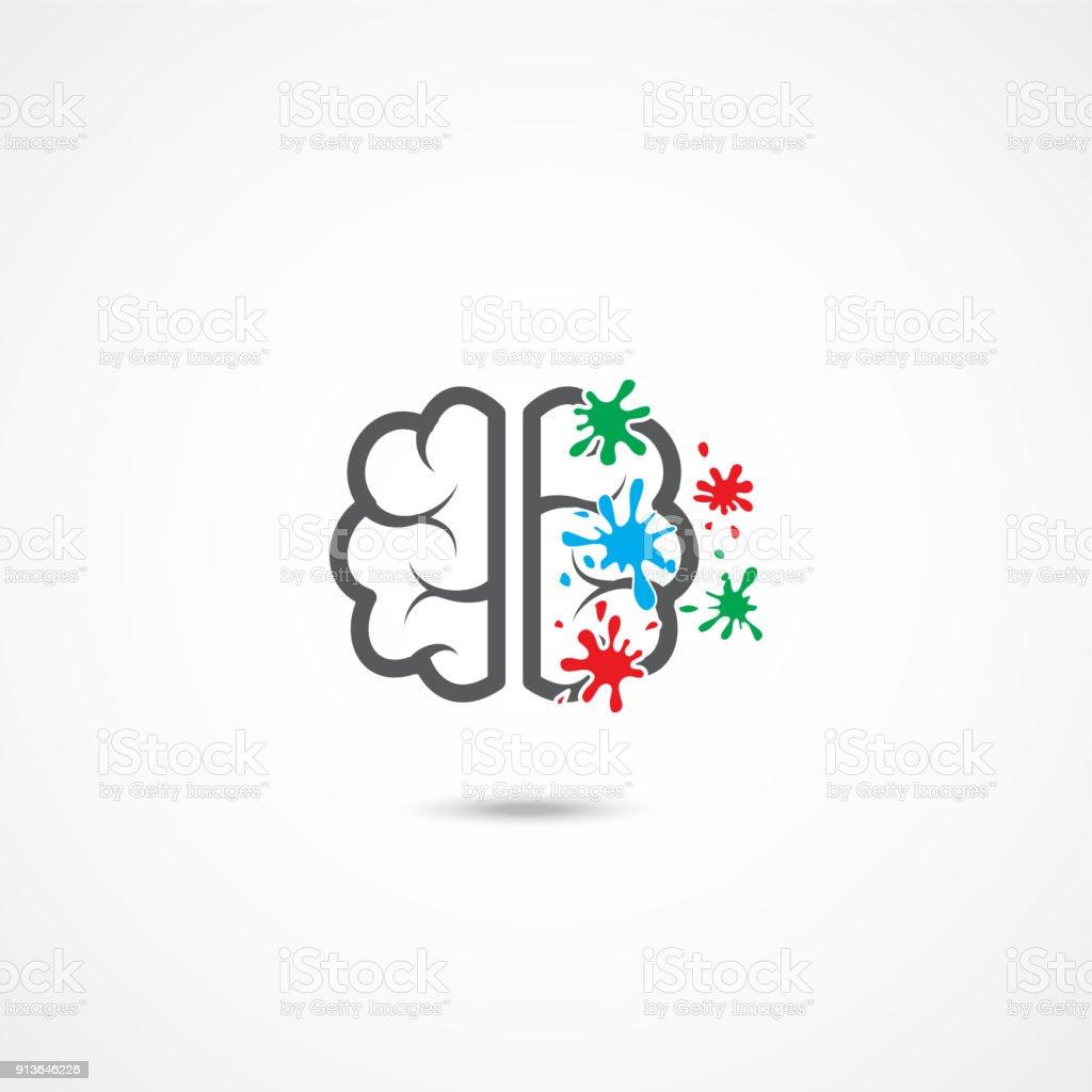 brain icon on white stock illustration - download image now