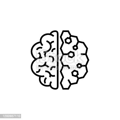 istock Brain icon. Two half different part of bain. Simple brain flat design vector. Stock vector illustration isolated on white background. 1200937110