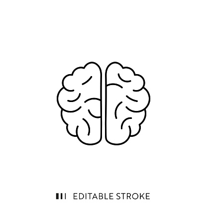 Brain Icon with Editable Stroke and Pixel Perfect.