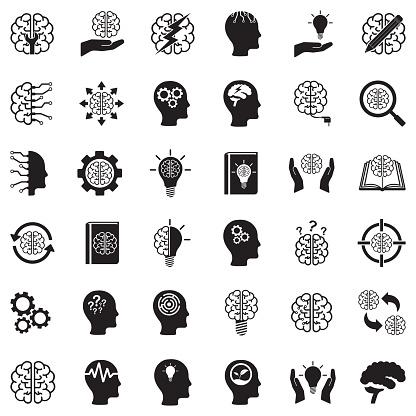 Brain Icons. Black Flat Design. Vector Illustration.