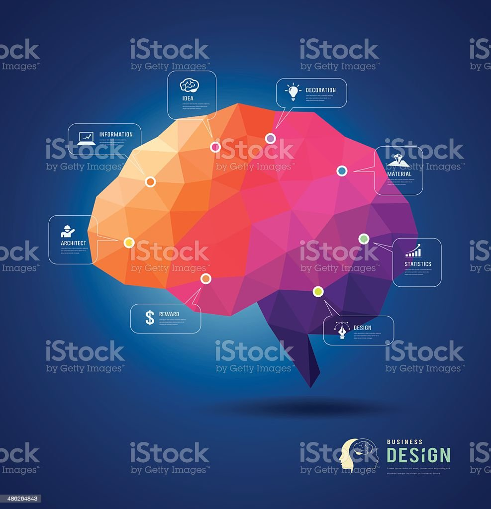 Brain idea geometric info graphics design royalty-free brain idea geometric info graphics design stock vector art & more images of abstract