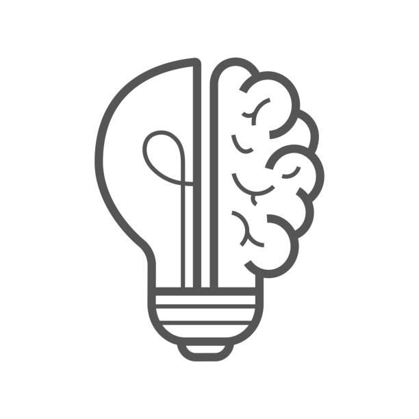 Brain idea icon. Light bulb with brain vector liner icon, idea concept. Editable Stroke. EPS 10. vector art illustration