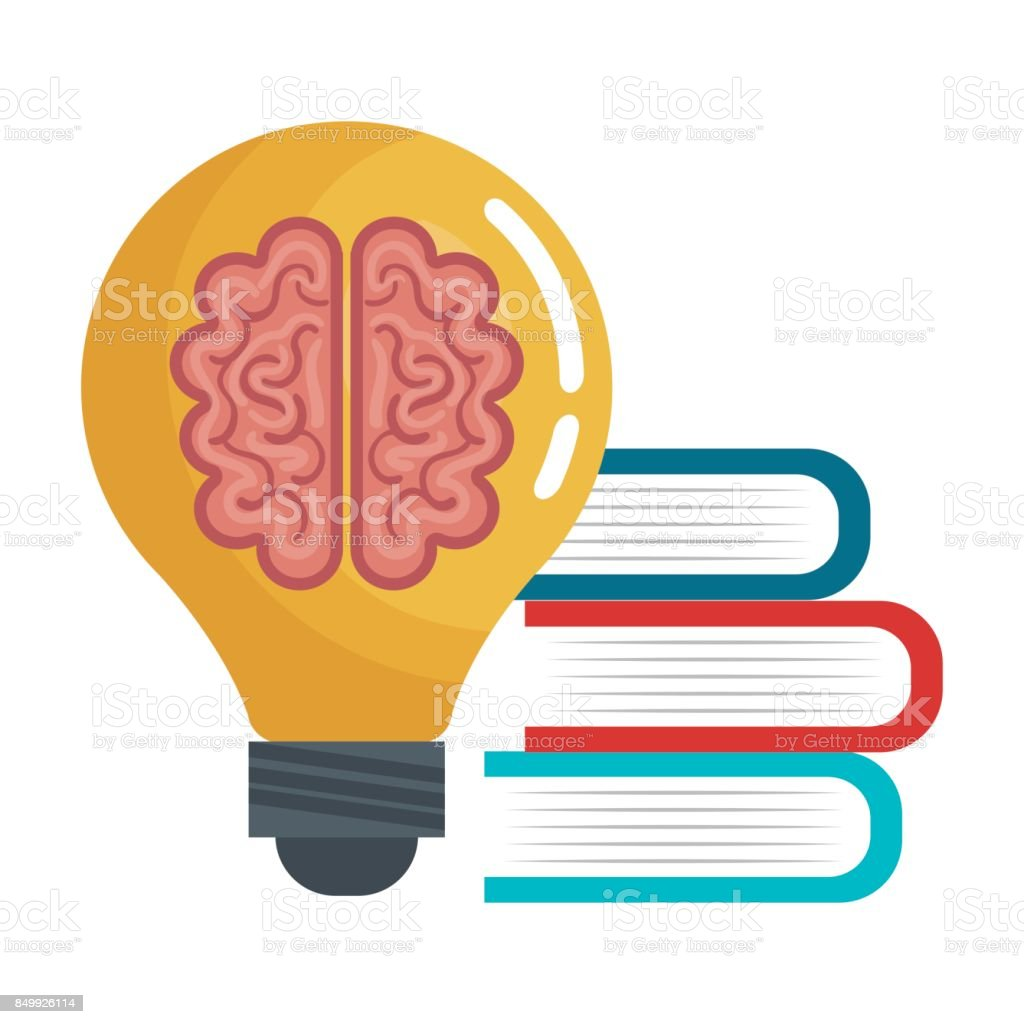 Brain Idea Think Book Education Online Graphic Stock Vector Art ...