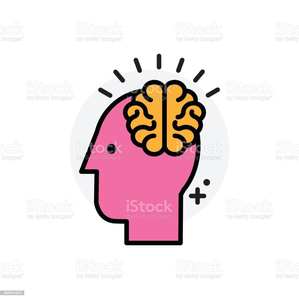 Concept d'idées cerveau isolé ligne Vector Illustration icône modifiable - Illustration vectorielle