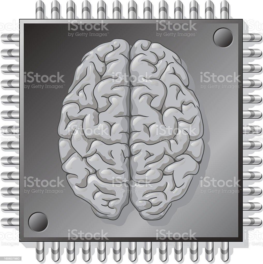 AI Brain in chip processor royalty-free stock vector art