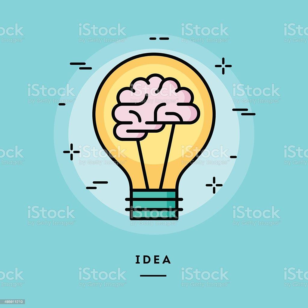 Brain in the light bulb as a metaphor for idea vector art illustration