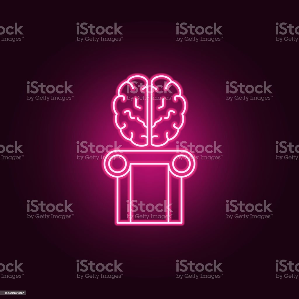 Brain intelligence, human brain icon. Elements of artifical in neon style icons. Simple icon for websites, web design, mobile app, info graphics vector art illustration