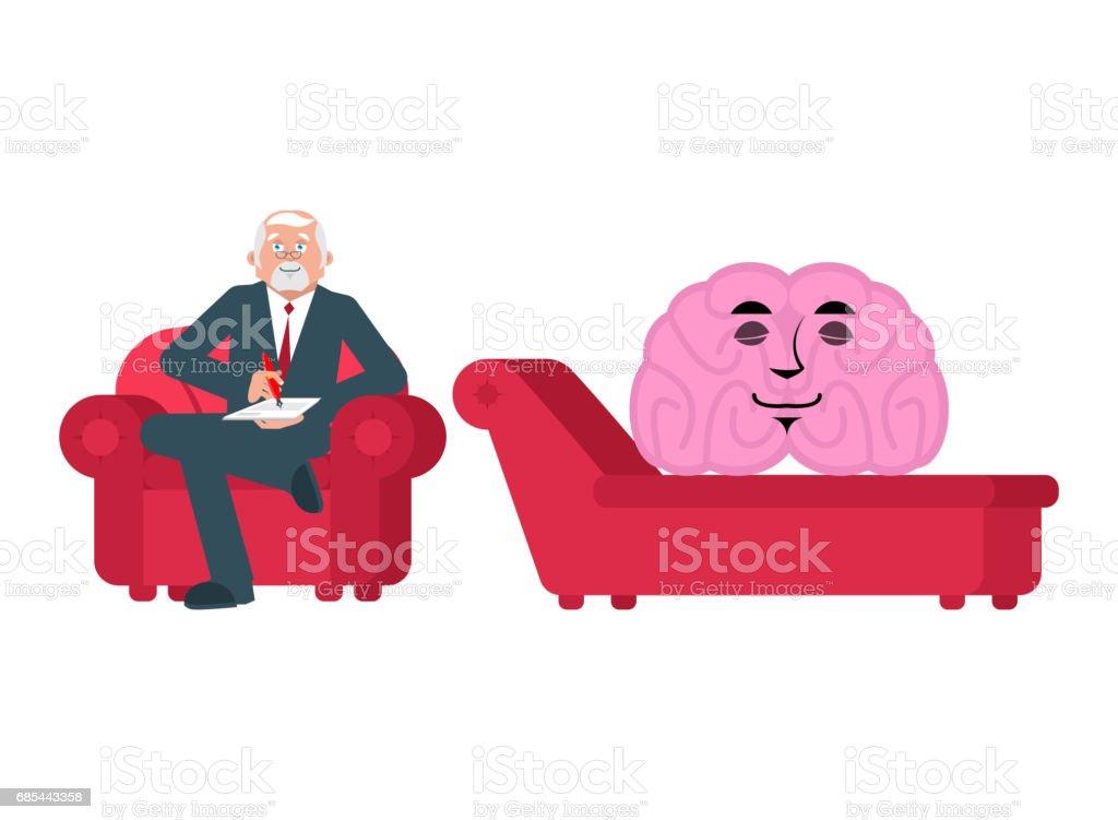 brain is at psychologist reception. Consultation of psychotherapist brain is at psychologist reception consultation of psychotherapist - arte vetorial de stock e mais imagens de cabeça royalty-free