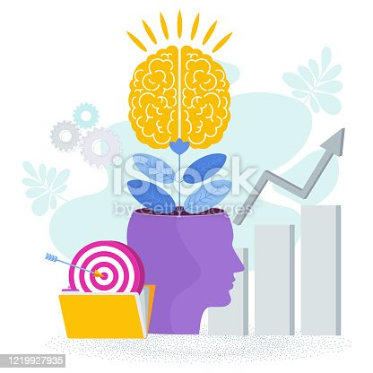 Brain is like a tree growing in a human head. The development of thinking, knowledge, analytical skills. Outstanding mind, creative ideas, innovative solutions. Business success Metaphor.