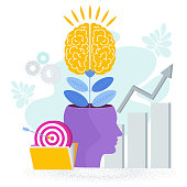 istock Brain is like a tree growing in a human head. The development of thinking, 1219927935