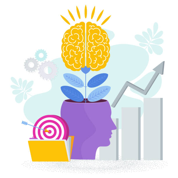 Brain is like a tree growing in a human head. The development of thinking, Brain is like a tree growing in a human head. The development of thinking, knowledge, analytical skills. Outstanding mind, creative ideas, innovative solutions. Business success Metaphor. attitude stock illustrations