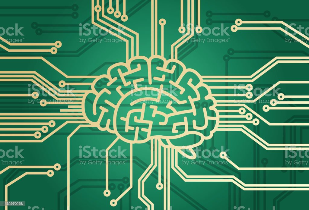 Brain is the CPU vector art illustration