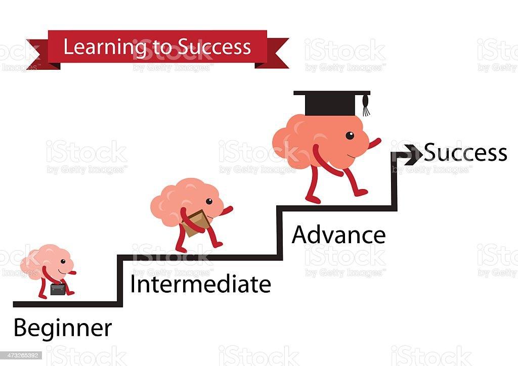 brain learning to success vector art illustration