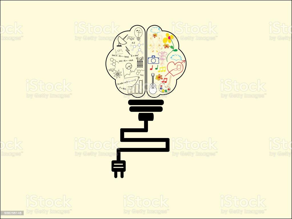 Brain Light Bulb , Use For Idea Business Background , Design Vector  Royalty Free Brain