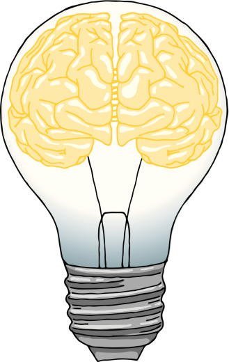 Brain Light Bulb Stock Illustration - Download Image Now