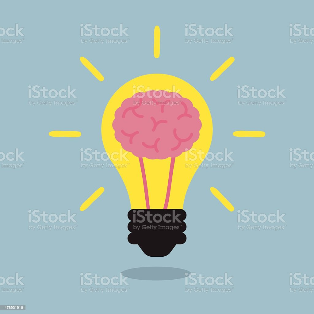 brain light bulb vector art illustration