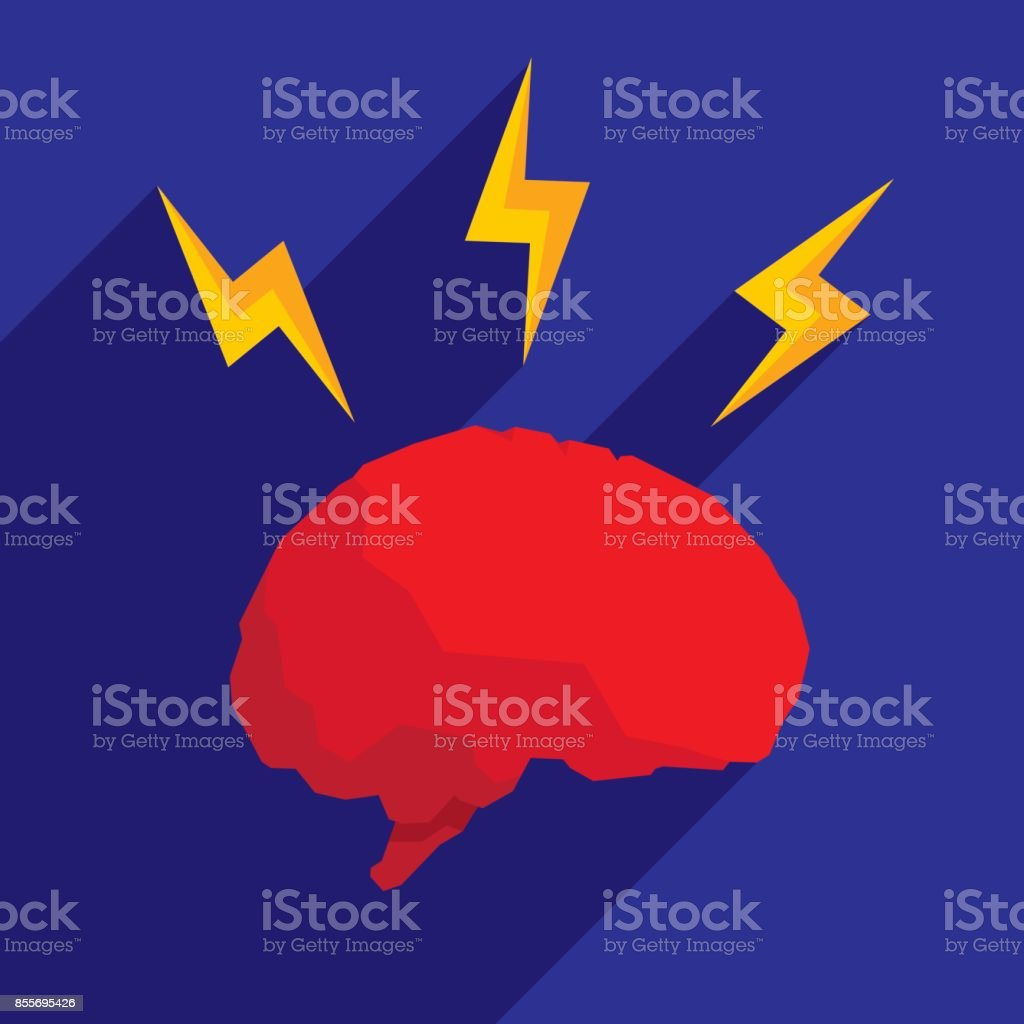 Brain Lightning Icon Flat vector art illustration