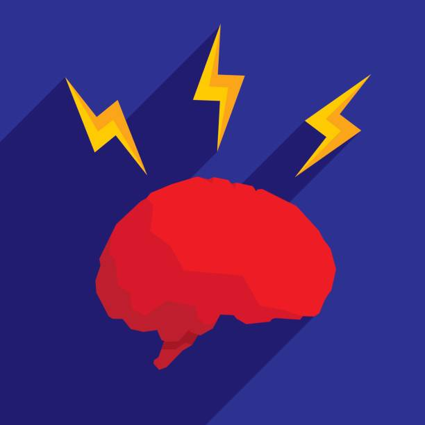 Brain Lightning Icon Flat vector art illustration