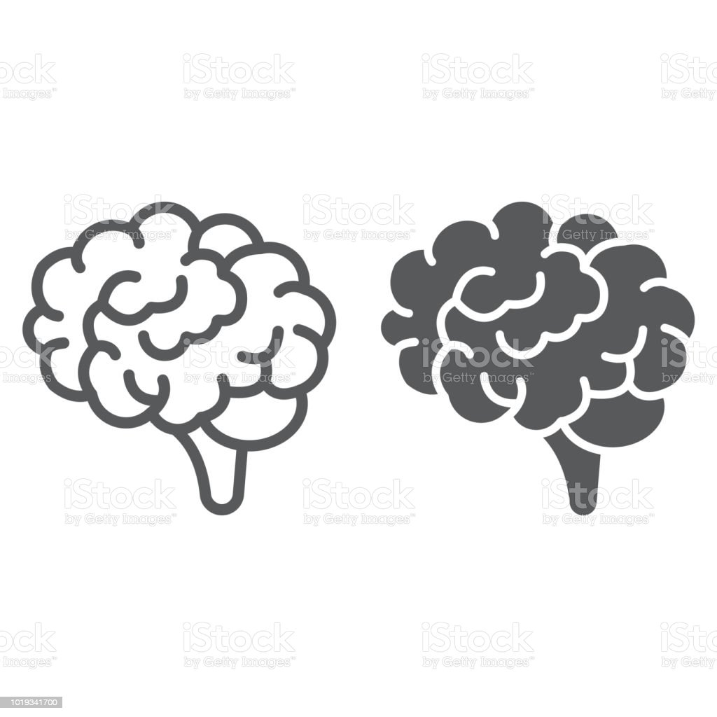 Brain line and glyph icon, anatomy and neurology, human organ sign, vector graphics, a linear pattern on a white background, eps 10. - illustrazione arte vettoriale