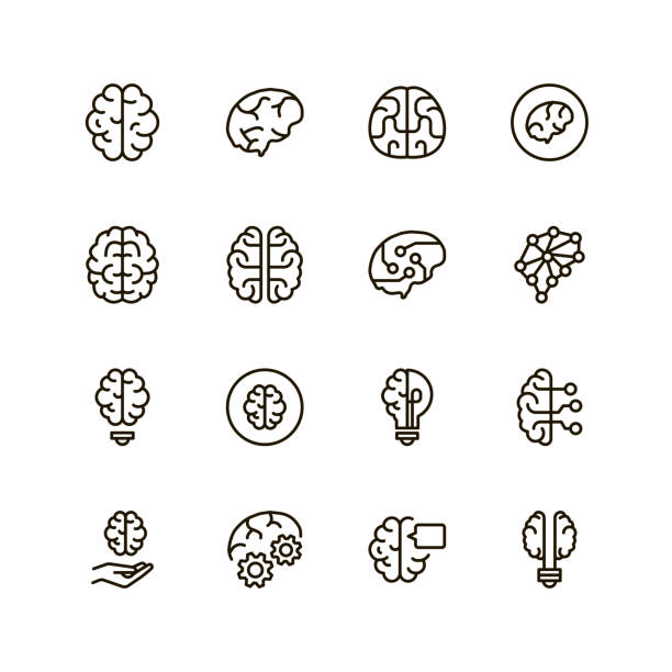 Brain line icon vector art illustration