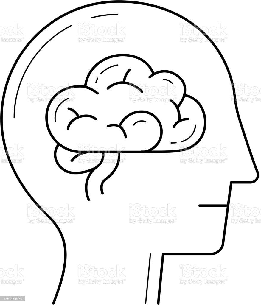 Cérebro linha ícone - ilustração de arte em vetor