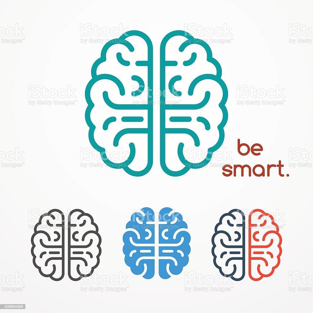 Brain logo set vektör sanat illüstrasyonu