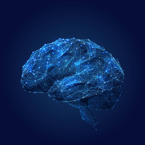 Brain low poly blue Abstract vector image of a human Brine . Low poly wire frame blue illustration on dark background. Lines and dots. RGB Color mode. Best idea concept. Polygonal art. brain stock illustrations
