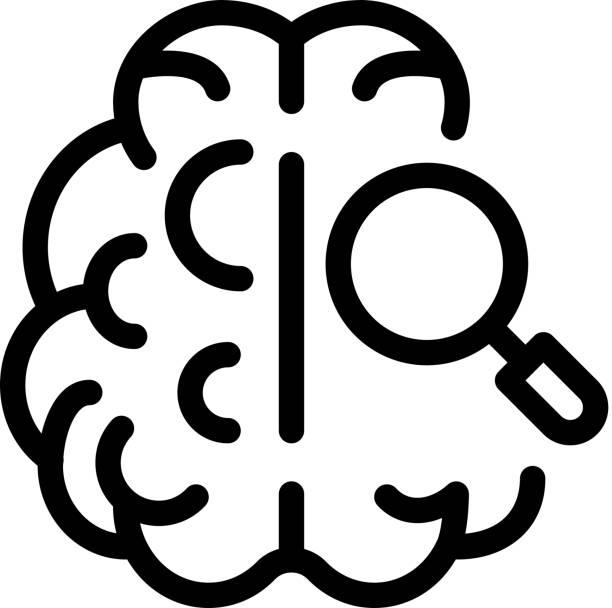 bildbanksillustrationer, clip art samt tecknat material och ikoner med hjärn förstoring ikon vektor disposition illustration - brain magnifying