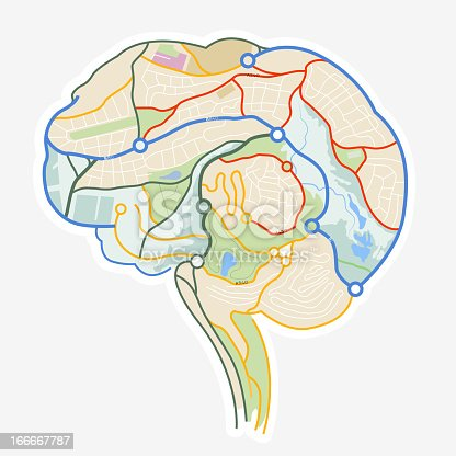 Brain Map. An illustration of a human brain made up from a map. Vector illustration.
