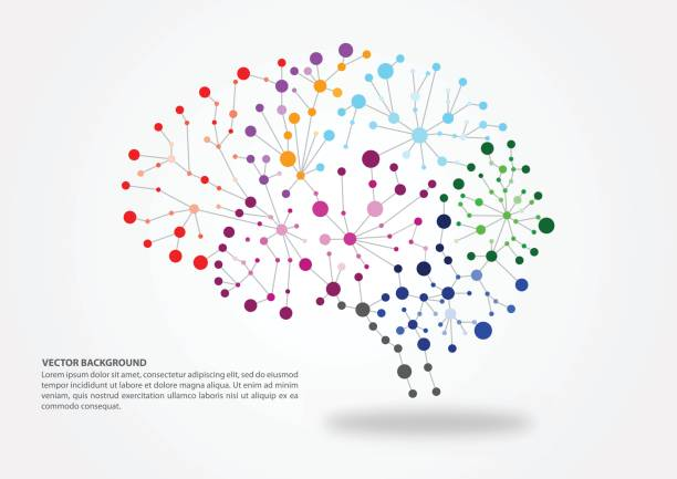 Brain mapping concept Colorful brain mapping concept with dots, circles and lines neurology stock illustrations
