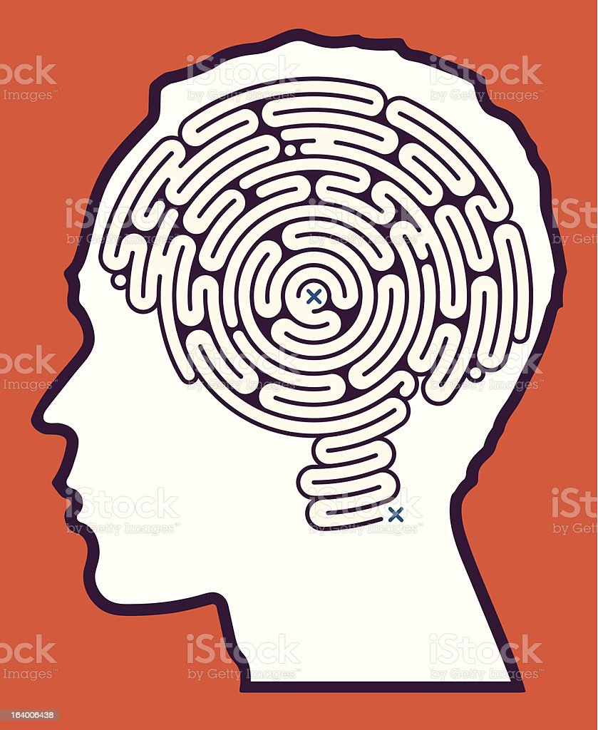 Brain Maze Puzzle vector art illustration