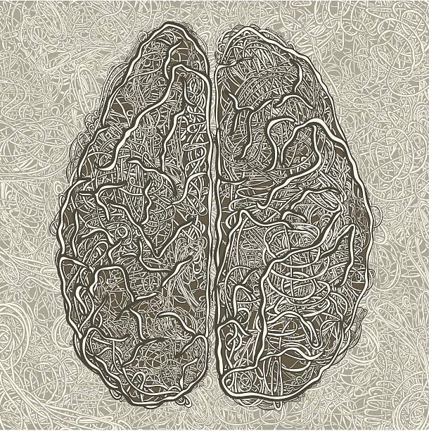 Brain Maze. Thread Art. vector art illustration