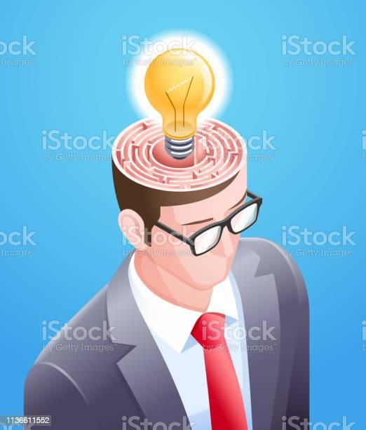 Brain maze with light bulb in businessman head vector illustrations vector id1136611552?b=1&k=6&m=1136611552&s=612x612&h=tgpaoruhq85b  7axjpv2colelzdmhprjfwtlm9u7mm=