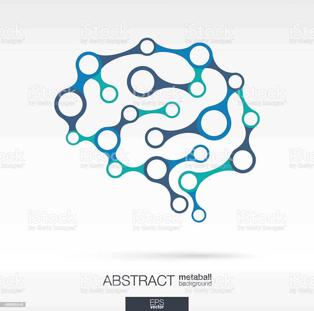 Brain metaball concept with lines, integrated circles. Vector illustration background. vector art illustration