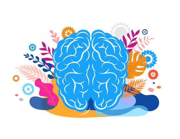 beyin, zihin ve farkındalık kavramı illüstrasyon. vektör arka plan ve yaprak ve doğa ile poster - mindfulness stock illustrations