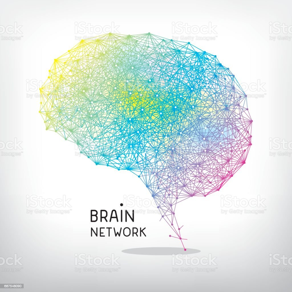 Brain network vector art illustration