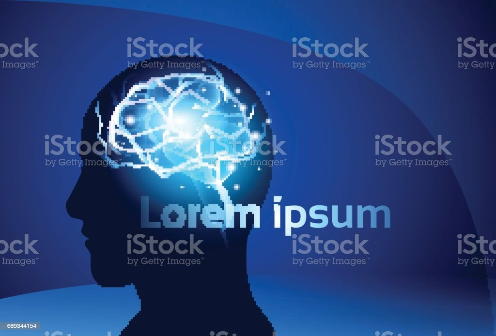 Brain Neurons Activity Medicine Thinking Intelligence Concept Banner With Copy Space vector art illustration