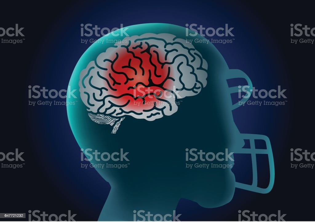 Brain of American football player have a red signal. vector art illustration