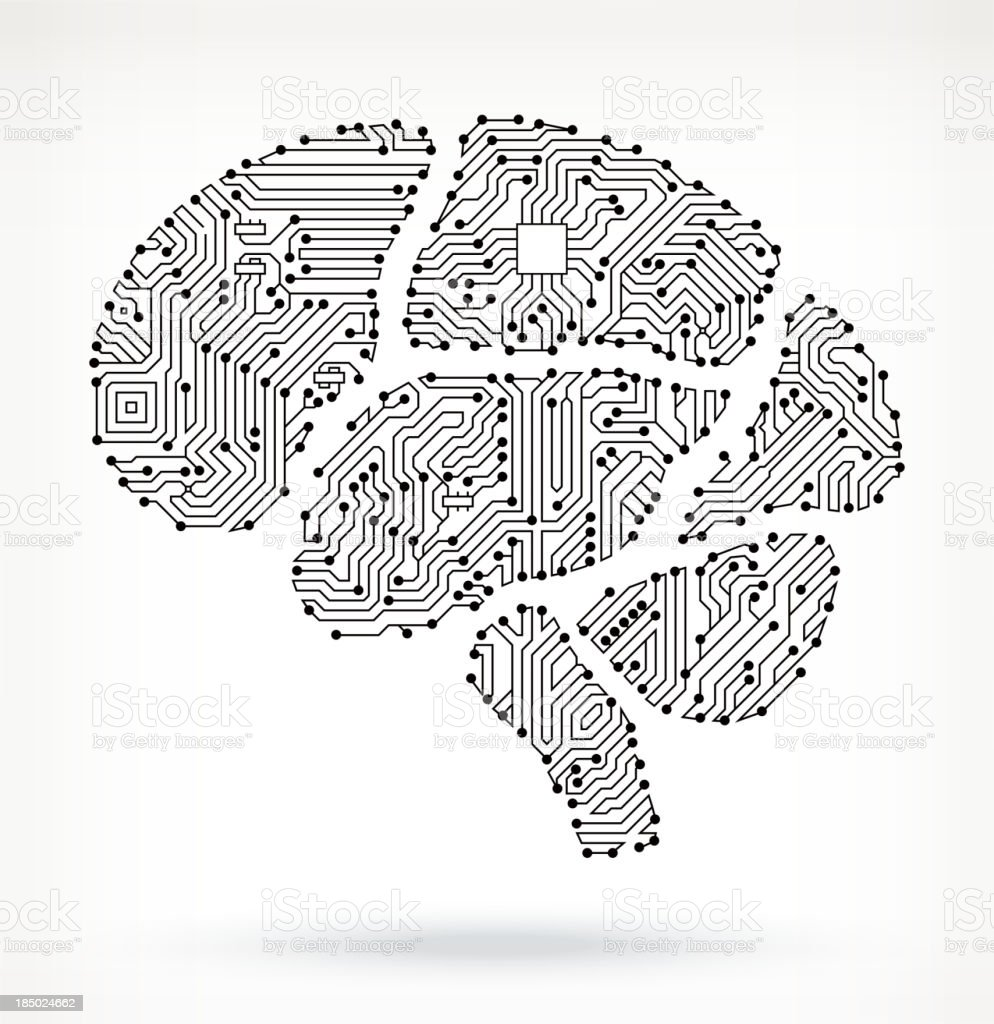 Brain on Circuit Board vector art illustration