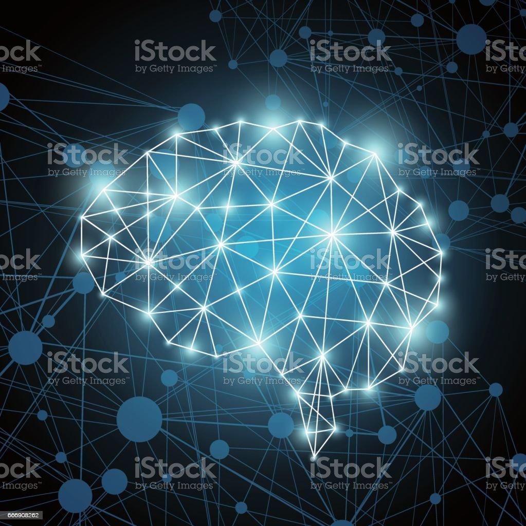 Brain polygon vector art illustration