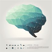 brain polygon with business icon