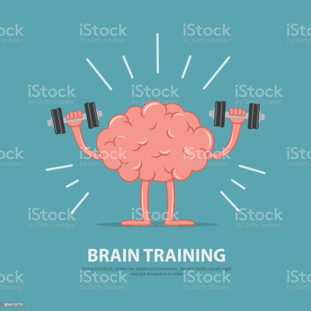 Brain power. Brain exercise. Cartoon brain character lifting dumbbells. Education concept. - ilustração de arte vetorial