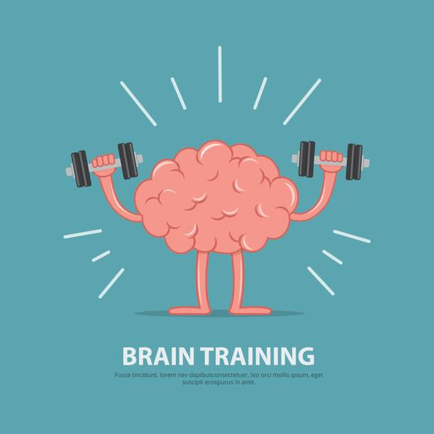 ilustrações de stock, clip art, desenhos animados e ícones de brain power. brain exercise. cartoon brain character lifting dumbbells. education concept. - active brain